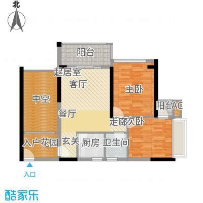 福东龙华府户型图3栋B户型 2室2厅1卫1厨