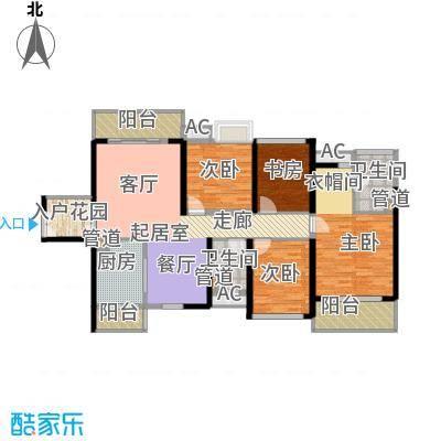 中航天逸户型图A3栋B单元01户型133平四房两厅两卫 4室2厅2卫1厨