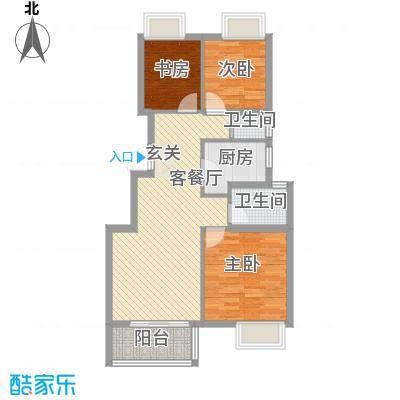 新城长岛89.00㎡K1户型3室2厅2卫1厨