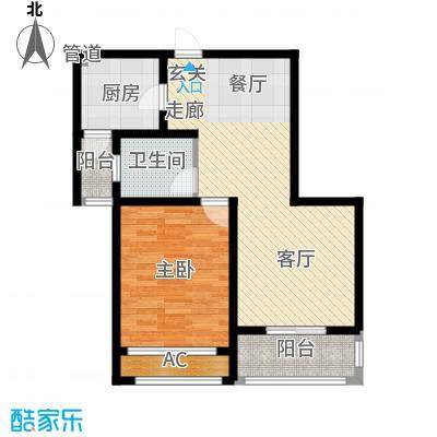 景城名轩68.93㎡A2-02户型1室2厅1卫1厨