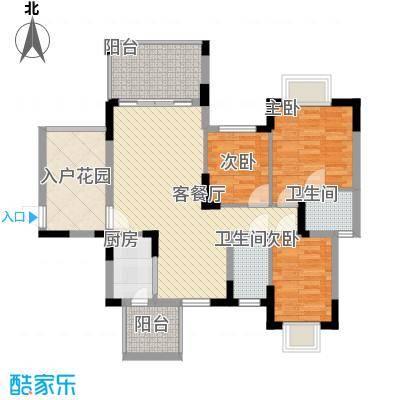 富通城105.00㎡富通城户型图E2栋3室2厅2卫户型3室2厅2卫