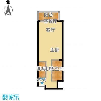 观澜湖75.00㎡观澜湖户型图标准公寓1室1厅1卫1厨户型1室1厅1卫1厨