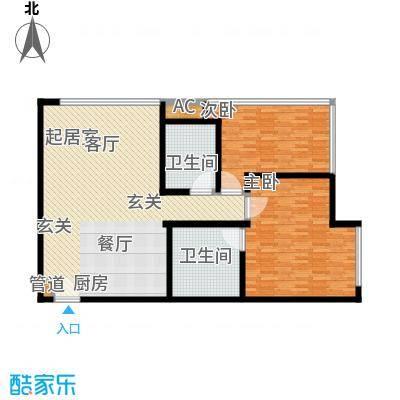 新世界名泷126.25㎡新世界名泷户型图东塔A2户型2室2厅2卫户型2室2厅2卫