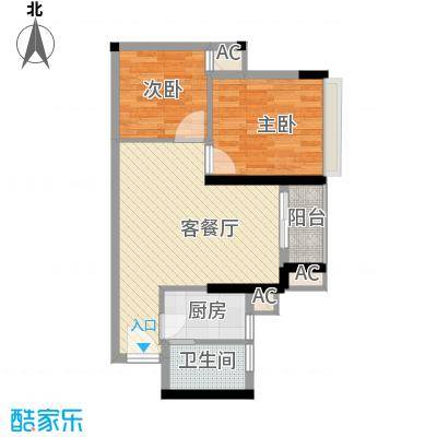 华侨新苑55.00㎡华侨新苑2室户型2室