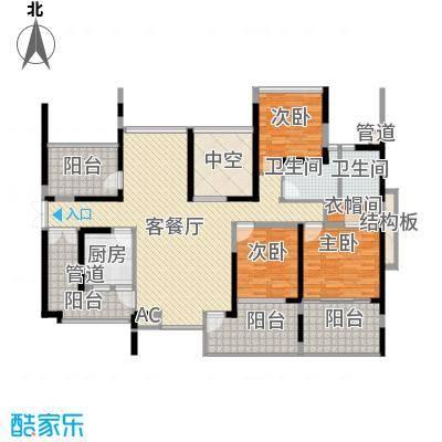 金光华龙岸花园127.00㎡金光华龙岸花园户型图1/2栋C+D6-28偶数层3室2厅2卫1厨户型3室2厅2卫1厨