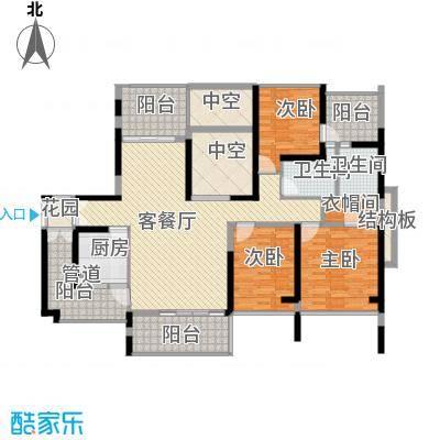 金光华龙岸花园130.00㎡金光华龙岸花园户型图3栋A+B5-27奇数层3室2厅2卫1厨户型3室2厅2卫1厨
