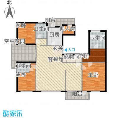 北京公园208.88㎡北京公园户型图5号楼B3户型5室3厅3卫1厨户型5室3厅3卫1厨