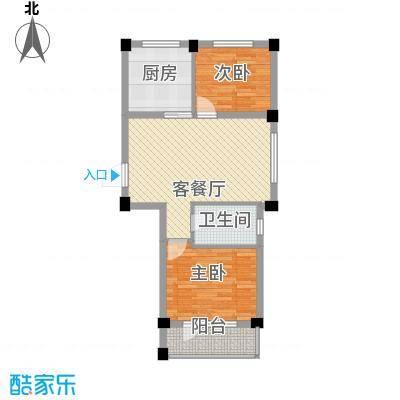 鹏辉新天居79.50㎡C79.5平户型图-户型2室1厅1卫1厨
