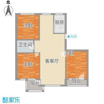 圣苑山水112.00㎡户型3室2厅1卫1厨