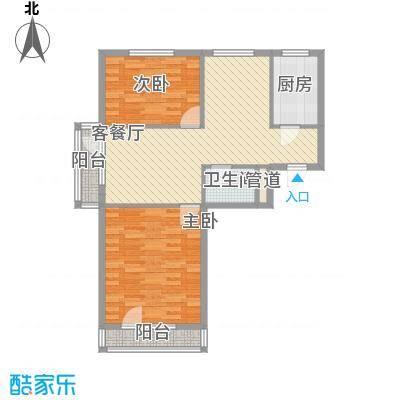 圣苑山水98.25㎡户型2室2厅1卫1厨