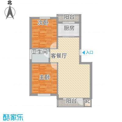 新星绿城82.00㎡新星绿城户型图2#B户型2室2厅1卫1厨户型2室2厅1卫1厨