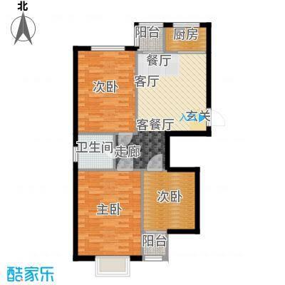 天成海尚110.11㎡1号楼A户型3室2厅1卫1厨