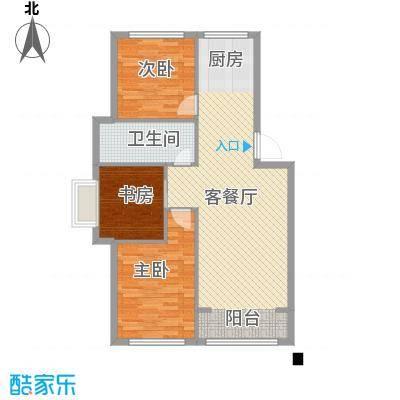 山水鑫苑98.00㎡7号楼B户型3室2厅1卫1厨