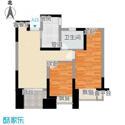 橡树湾78.00㎡橡树湾户型图B-4户型2室2厅1卫1厨户型2室2厅1卫1厨