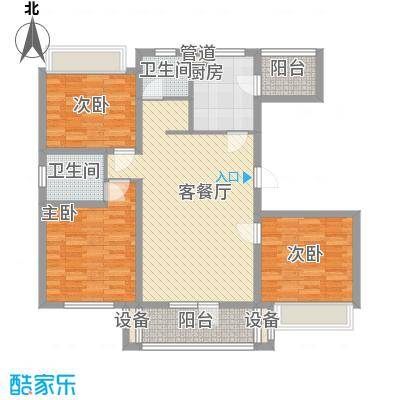 江都恒通帝景蓝湾128.23㎡F户型3室2厅2卫1厨