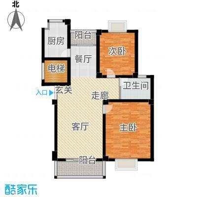 江城壹品113.17㎡E户型2室2厅1卫1厨