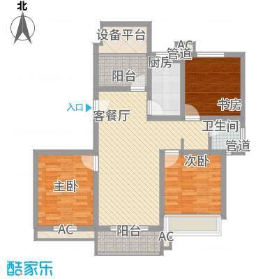 绿地运河纪户型图三期GC1户型 3室2厅1卫1厨