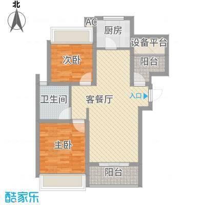 绿地运河纪户型图三期GB3户型 2室2厅1卫