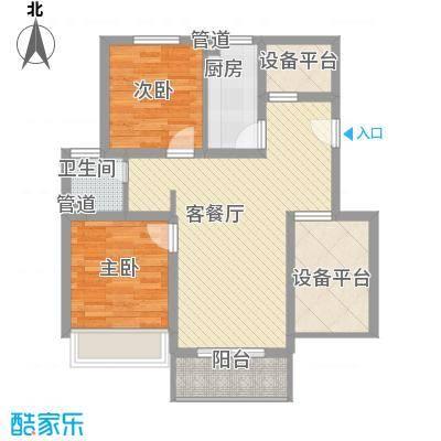 绿地运河纪户型图三期GB2户型 2室2厅1卫