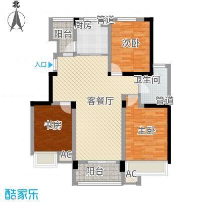 绿地运河纪户型图一期GC1户型 3室2厅1卫1厨