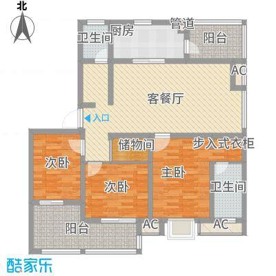 万豪西花苑户型图6A3户型 3室2厅2卫1厨