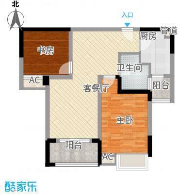 绿地运河纪户型图一期GB5户型 2室2厅1卫1厨