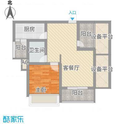 绿地运河纪户型图三期GA1户型 1室2厅1卫