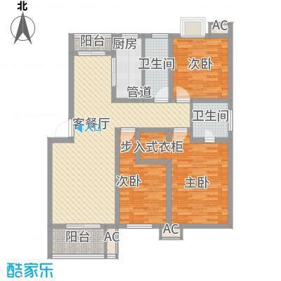 万豪西花苑户型图8A3户型 3室2厅2卫1厨