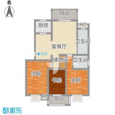 万豪西花苑户型图10A标准层户型 3室2厅2卫1厨