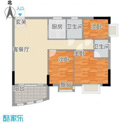 万虹花园106.00㎡万虹花园户型图3室2厅户型图3室2厅2卫1厨户型3室2厅2卫1厨