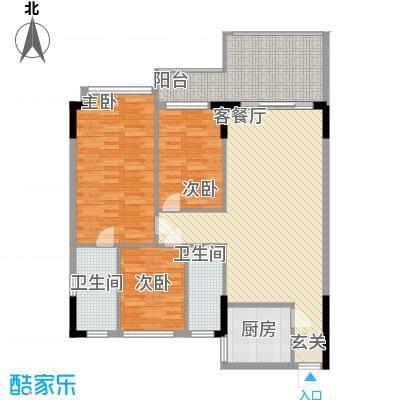 富城花园户型图3室2厅户型图   3室2厅2卫1厨