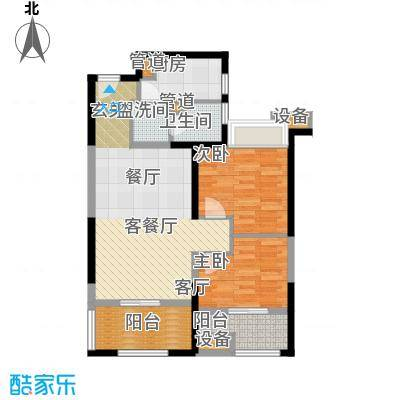 大兴九臻户型图7#楼 B户型 2室2厅1卫1厨
