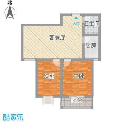 汉城湖一号户型图温馨典雅 2室2厅1卫1厨