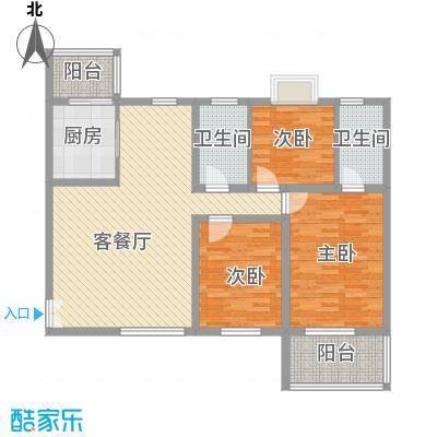 汉城湖一号户型图雍容华贵 3室2厅2卫1厨