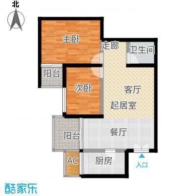 山水华城87.80㎡山水华城户型图1#B户型2室2厅1卫1厨户型2室2厅1卫1厨