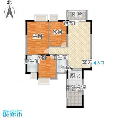 中海�晖华庭115.41㎡中海�晖华庭户型图A8栋29-31层03单位3室2厅2卫1厨户型3室2厅2卫1厨