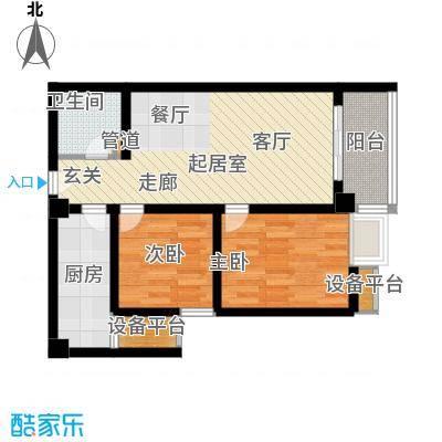 万象未央76.77㎡万象未央户型图1号楼G户型2室2厅1卫1厨户型2室2厅1卫1厨