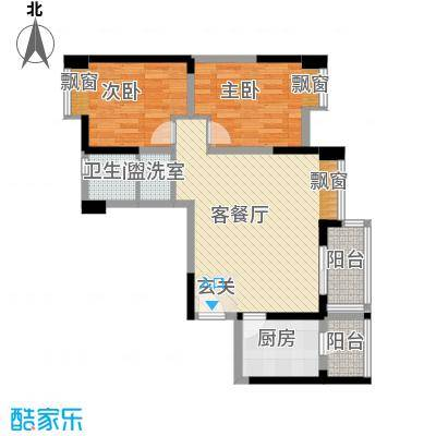 曲江城市花园86.53㎡K1户型图实得面积:93㎡户型2室2厅1卫1厨