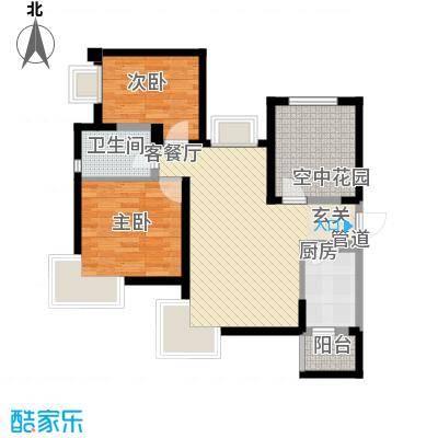 曲江城市花园89.50㎡G1户型图实得面积:100㎡户型2室2厅1卫1厨