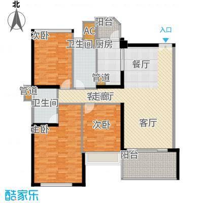 汇峰国际公寓136.63㎡E座02单元户型3室2卫1厨