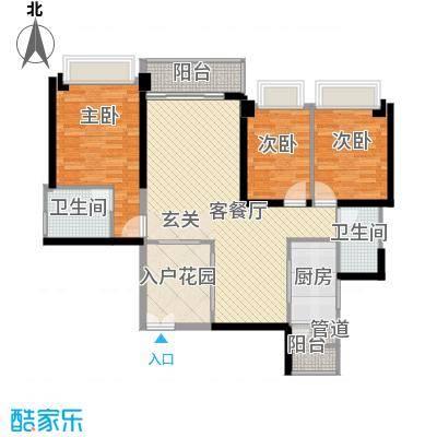 汇峰国际公寓131.87㎡D座03单元户型3室2卫1厨