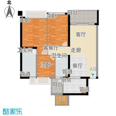 汇峰国际公寓113.35㎡E座03单元户型3室2卫1厨