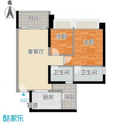 汇峰国际公寓98.62㎡E座04单元户型2室2卫1厨