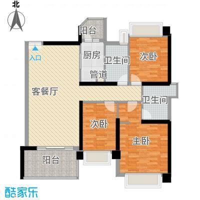 汇峰国际公寓133.58㎡D座01单元户型3室2卫1厨