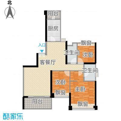 汇峰国际公寓147.00㎡B座户型3室2卫1厨