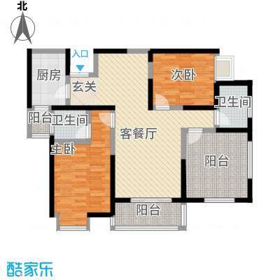绿地乐和公馆107.00㎡绿地乐和公馆户型图B-5户型3室2厅2卫1厨户型3室2厅2卫1厨