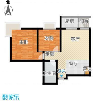 美寓华庭三期高新尚居77.84㎡美寓华庭户型图C2室2厅1卫1厨户型2室2厅1卫1厨