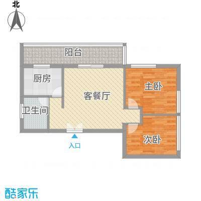 乐府国际公寓户型图C5户型图 2室2厅1卫1厨