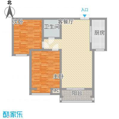 领汇双河湾100.64㎡领汇双河湾户型图户型单张-C1-22室2厅1卫1厨户型2室2厅1卫1厨