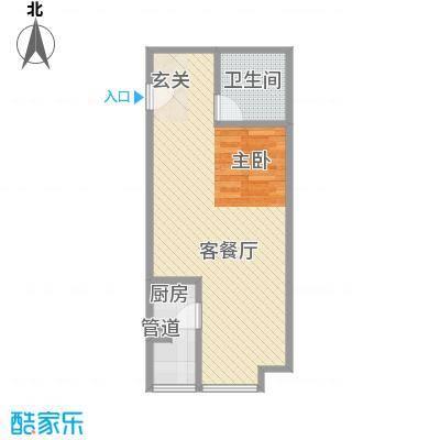 望庭国际51.42㎡A1户型1室1厅1卫1厨